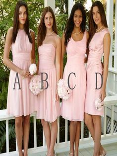Short Bridesmaid Dress,blush pink bridesmaid dress,simple bridesmaid dress,cute…