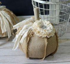 Natural Burlap Fabric Pumpkin Driftwood by CottonRidgeEmporium