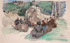Mathurin Méheut  Pardon de Sainte Barbe au Faouët aquarelle 28x45
