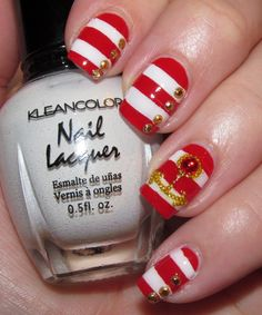 Red and White Nail Art