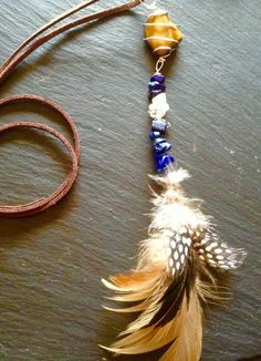 Tigers eye ,lapis lazuli , clear quarts and morganite guardian  feather charm protective pendant by HertsTreasure on Etsy