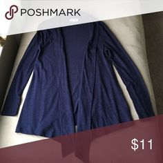 Blue Cardigan Thin cardigan, collar folds over and is longer at the point. Excellent condition. Sweaters Cardigans