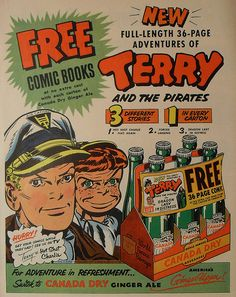 1950s CANADA DRY ginger ale vintage soda TERRY AND THE PIRATES comic advertisement illustration