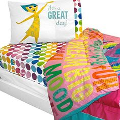 4pc Disney Pixar Inside Out Twin Bedding Set Rainbow Ombre Comforter and Sheets *** You can find out more details at the link of the image.