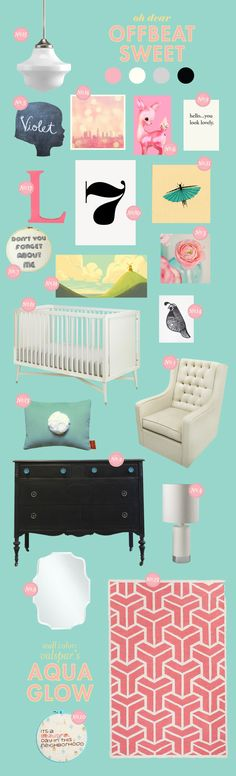 aqua and pink baby nursery inspiration board