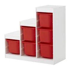 TROFAST storage combination, red, white Width: 100 cm Depth: 44 cm Height: 94 cm