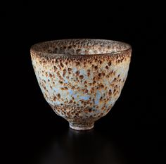 Gertrud and Otto Natzler, footed vase, earthenware, blue and brown volcanic glaze, date unknown.