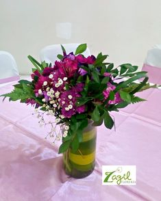 Cancun floral decor  Purple centerpiece www.floreriazazil.com Contact us: ventas@floreriazazil.com #cancunflorist