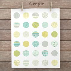 1 inch circle: digital downloads TRIBAL SPRING circles patterns for pendants, bottle caps, paper craft, circle collage sheet, tribal green #patterns #grepic
