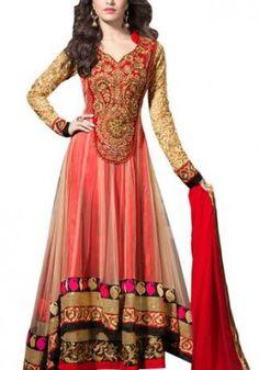 Shraddha Kapoor Beige Cream Net Dress Material In Designer Salwar Suits, Designer Anarkali, Chiffon Saree, Shraddha Kapoor, Anarkali Gown, Anarkali Suits, Long Anarkali, Lehenga Choli, Silk Dupatta
