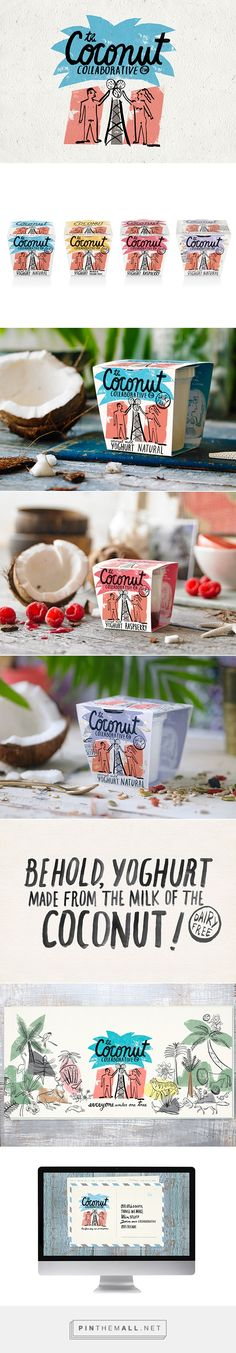 The Coconut Collaborative on Behance by Big Fish curated by Packaging Diva PD. A range of products made from coconut milk that were healthy but indulgent. The design played on the oldest story in the world, Adam & Eve, whom we depicted picking this innocent fruit in order to turn it into 'forbidden' pleasures.
