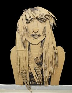 231 Cardboard Portraits by 12th Graders.