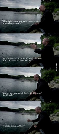 Karl Pilkington on bears ~ an idiot abroad Ricky Gervais Quotes, Ricky Gervais Show, Karl Pilkington Quotes, Britain Funny, Funny Memes, Hilarious, Funny Videos, Funny Shit, Funny Stuff
