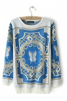 Blue #butterfly Sweater ... Exotic Totem Butterfly Print Sweater #blue #butterfly #sweater