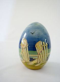 Hand Painted Ceramic Summer Egg Beach Chairs and by oldandnew8, $8.00