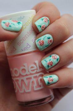 Rose and mint nail art