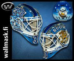IIHF World Championship 2012, Petri Vehanen's new goalie helmet including Hockey Bird.