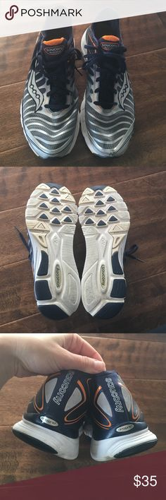Saucony men's running shoes Saucony men's running shoes size 11 in great shape. Super clean and odor free. The only flaw is a few scuffs on the left shoe as shown in pics. Lightweight and comfy. Saucony Shoes Athletic Shoes