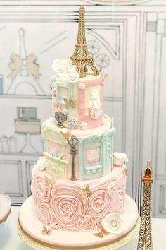 Parisian Birthday Cake - New Site Paris Birthday Cakes, Paris Themed Cakes, Paris Themed Birthday Party, Paris Cakes, Paris Themed Parties, Barbie Birthday Cake, Parisian Cake, Parisian Party, Pretty Cakes