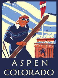 ASPEN Colorado Lady Skis Ski Winter Sport Mountain Vintage Poster Repro FREE S/H   eBay