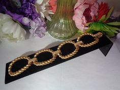 Use todays coupon 312017 and get 15% off Vtg Goldtone Extra Wide Chain Link Bracelet.The Bracelet features Lg Links CCCsVintageJewelry.com
