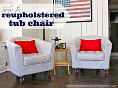 Sew: reupholstered tub chairs Today I'm over at Remodelaholic sharing a tutorial on how to reupholster a tub chair (or two). Come see how I madeover these Ikea Tullsta tub chairs from brown leather to blue and white ticking stripe with red wheels. The full tutorial is here. You may also like...How to Reupholster a... Read more