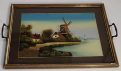 c 1930 s Vintage Painted Glass Windmill Scene Serving Tray