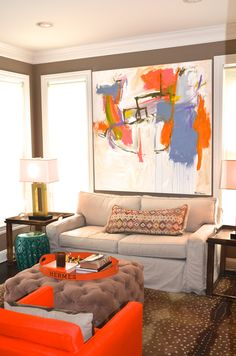 Interiors winter 2014 issue of New England Home mag. Home of artist/stylist Kerri Rosenthal New England Homes, Colorful Paintings, House And Home Magazine, My Living Room, Home Art, New Art, Contemporary Art, Abstract Art, Room Decor