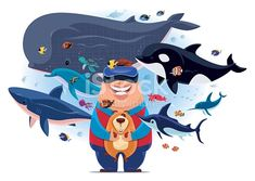 animals, stock illustration, graphics, illustration, Adobe illustrator, Adobe, painting, drawing, digital painting, vector, cartoon, character, fishes, sea creature, tropical fishes, design, virtual reality, boy, dog, whale, shark, dolphin,