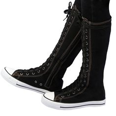 RioRiva Fashion Women's Canvas Sneakers Knee-high Side Zipper Shoes Lace up Boots ** Trust me, this is great! Click the image. : Boots