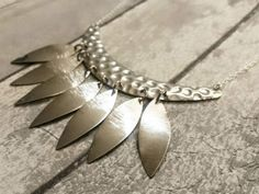 Leaf Necklace Silver Leaf Branch Necklace by DandelionByPolly