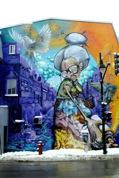 A'shop - street art Montreal - bd st laurent / av des pins mars 2015