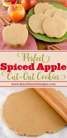 The recipe for perfect, no spread, Spiced Apple cut-out cookies. - The recipe for perfect, no spread, Spiced Apple cut-out cookies. Great for decorating with royal ic - Apple Cookies, Fall Cookies, Sugar Cookies Recipe, No Bake Cookies, Cookies Et Biscuits, Cut Out Sugar Cookies, Summer Cookies, Sugar Cookie Recipe For Decorating, Valentine Cookies