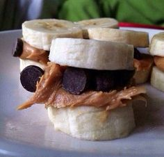 Great healthy snack (kids will go bananas over it). Bananas,  peanut butter and dark chocolate chips. Yummmm!