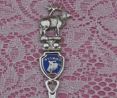 Vintage Wyoming Souvenir Spoon, Elk on Top, FORT 1981 Collectible