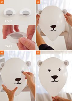 DIY Polar Bear Party Balloons! Find the tutorial + free printables on| Hostess with the Mostess®