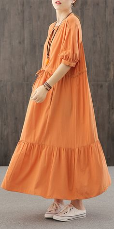 DIY orange dresses v neck wrinkled robes Dresses Fall Skirts, Fall Dresses, Cotton Dresses, Summer Dresses, Half Sleeve Dresses, Half Sleeves, Neck Wrinkles, Casual Dresses For Women, Clothes For Women