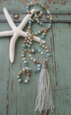 Luxe beachy gemstone tassel necklace Sway by slashKnots on Etsy