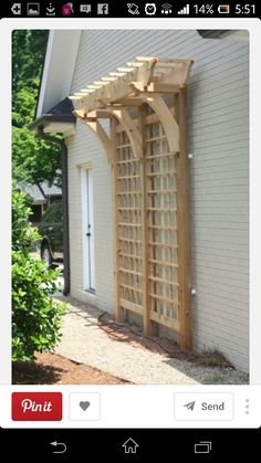 Beautiful trellis -love the pergola-esque top. A trellis against the side of the house or shed - creative way to add interest to a plain wall. Lawn And Garden, Home And Garden, Garden Shop, Garden Trellis, Wall Trellis, Garden Arbor, Garden Planters, Diy Trellis, Hops Trellis