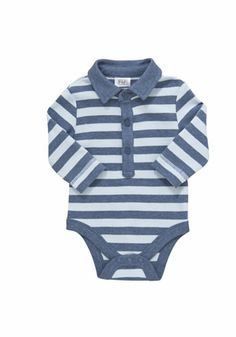 F&F Striped Long Sleeve Polo Bodysuit £5