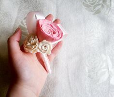 Sola flowers wedding boutonniere /corsage pink by MKedraWedding