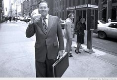 Motorola Vice President John F. Mitchell shows off the DynaTAC portable radio telephone in New York City in 1973. by caseorganic, via Flickr