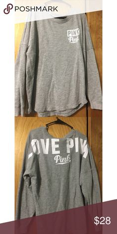 PINK Varsity Crew Grey varsity crew, has been worn once. In great condition!  No trades. Feel free to ask any questions or make an offer! PINK Victoria's Secret Tops Tees - Long Sleeve