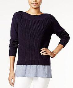 Tommy Hilfiger Women's Sweater Navy Blue XS Contrast Hem  #TommyHilfiger #BoatNeck