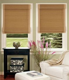 Inexpensive lined bamboo roman shades