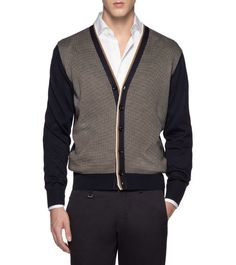 Strickjackedünner Sweater V-Ausschnitt Knöpfe Blau100% Seide(39403888SR)|Ermenegildo Zegna