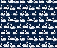 Swans in the Pond - Navy by Andrea Lauren fabric by andrea_lauren on Spoonflower - custom fabric