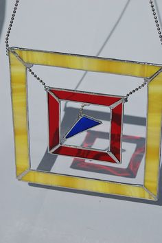 Geometric Stained Glass Suncatcher Bright Summer Colors Yellow Red Blue via Etsy