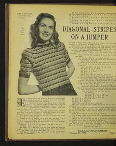 Free vintage knitting pattern from 1948 for striped short sleeved woman's jumper Mode Crochet, Knit Crochet, Knitting Patterns, Crochet Patterns, Vintage Knitting, Jumpers For Women, 1930s, Knitwear, Men Sweater