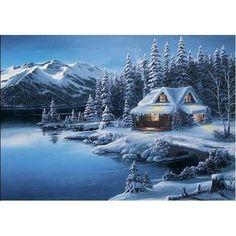 Log Cabin Christmas Winter Scene | Log Cabin Winter Scenes | Geographic Winter Cabin Scene Christmas Card ...